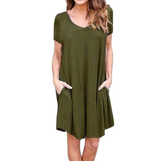 38068f5d770951 Pervobs Dress Clearance! Women Loose Pullover Dress Short Sleeve Solid O- Neck Beach Evening