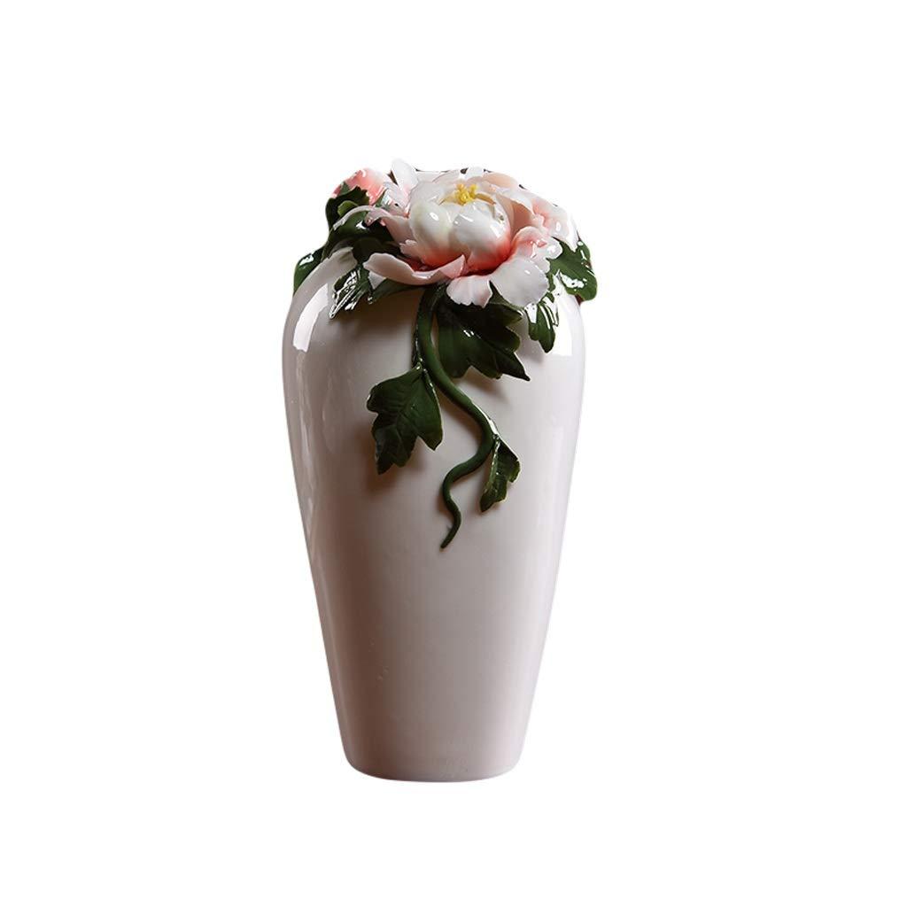 花瓶新しい中国の白い磁器セラミック花瓶装飾フラワーアレンジメント中国風ホームリビングルームテレビキャビネット棚装飾 LQX (Size : L) B07SHD1JGX  Large