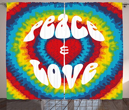 Ambesonne 70s Party Curtains, Peace and Love Groovy Sixties Tie Dye Effect Heart Shaped Abstract Rainbow Print, Living Room Bedroom Window Drapes 2 Panel Set, 108 W X 84 L Inches, White and Rainbow]()