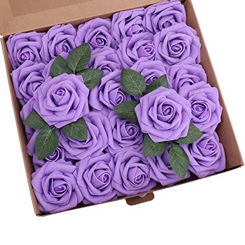 YSBER Roses Artificial Flowers - 50Pcs Big PE Foam Rose Artificial Flower Head for DIY Wedding Bouquets Centerpieces Bridal Shower Party Home Decorations (50 PCS, Purple)