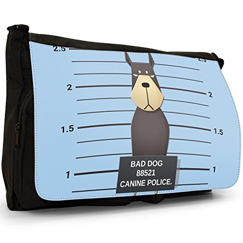 Lineup Doberman Naughty Black Messenger Canvas Of Shoulder School Dogs Laptop Police Pinscher Bad Canine Bag Large 5wgqHat