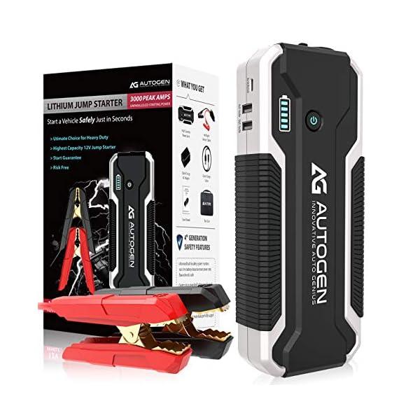 AUTOGEN Car Jump Starter, 12V Portable Lithium Battery Jumper Box Booster Pack for...