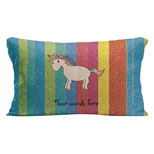 KafePross Custom Your Name or Words Unicorn Rainbow Home Decorative Cotton Linen Pillow Covers 12x20 Inch -