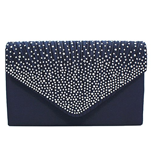 For Evening Envelope Bag Bridal Blue Bags Shoulder Dark Handbag Clutch Party Pleated Women Rhinestone Frosted Wedding Purse PnwRrPYq