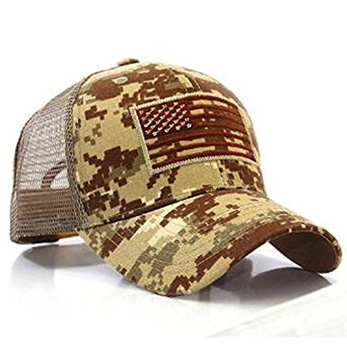 Desert Camo Baseball Cap (USA Flag Patch Tactical Style Mesh Trucker Baseball Cap Hat Desert)
