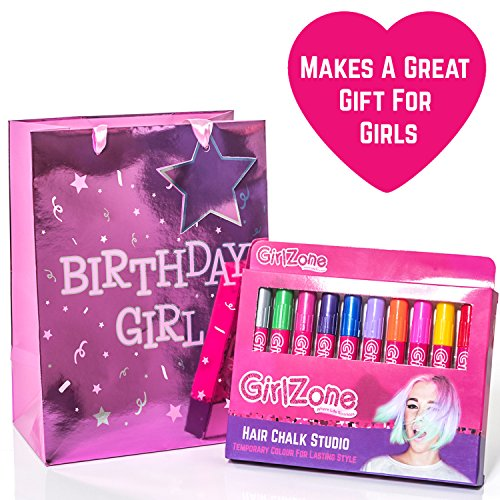 HAIR CHALKS BIRTHDAY GIFT: 10 Colorful Hair Chalk Pens. Temporary Color For Girls For All Ages