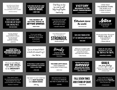 (30 Elegant Black and White Motivational Quote Cards, Business Card Size with Gloss Stock, Back of Card is White for Personal Message, Inspirational Notes for School Lunchbox, Notebook or Backpack)