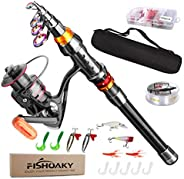 FishOaky Fishing Rod Set, Carbon Fiber Telescopic Spinning Fishing Pole and Reel Combo Fishing Gear with Line
