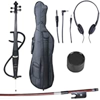 Cecilio CECO-3BK Ebony Fitted Silent Electric Cello, Style 3, Metallic Black, 4/4 (Full Size)