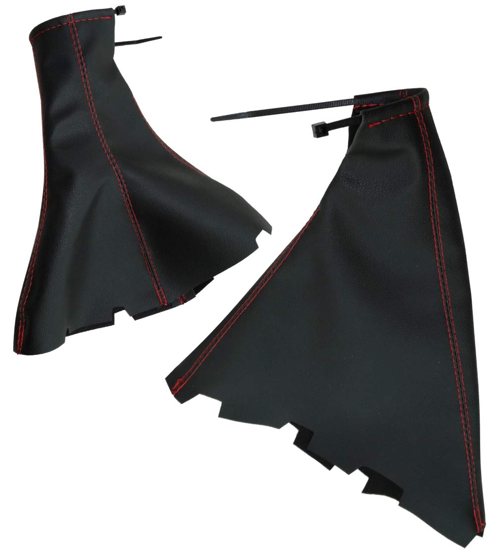 negro con costuras rojo Funda para palanca de cambios y freno de mano de piel sint/ética con costuras de colores variables AERZETIX