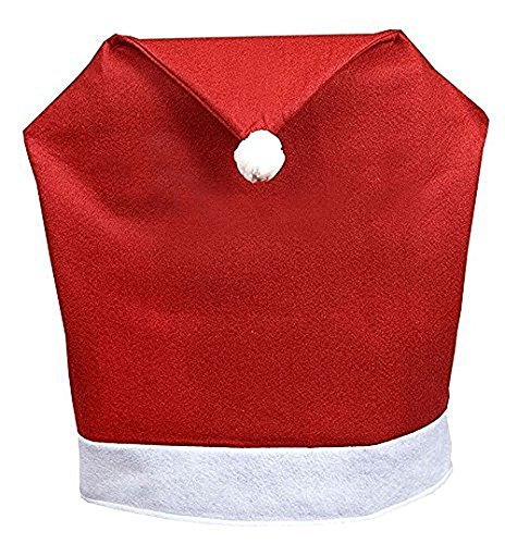 Christmas Santa Chair Hat Soman Soft Red Dining Chair Covers Kitchen Christmas Party Decoration 8 P  8Pcs