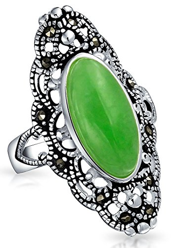 (Vintage Style Oval Dyed Green Jade Armor Full Finger Filigree Statement Ring For Women Marcasite 925 Sterling Silver)