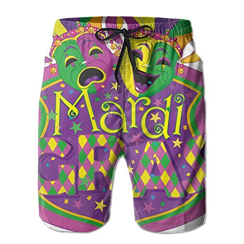 ACFUNEJRQ Men's Comedy and Tragedy Masks with Festive Mardi Gras Fashion Beach Shorts Pocket Drawstring Beach - Gras Mask Comedy Mardi