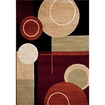T1010 Black Cream Green 7u002710 X 10u00272 Rust Burgundy Abstract Area Rug