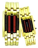 Personalized Binary Couple LED Steel Wrist Watches for Lovers