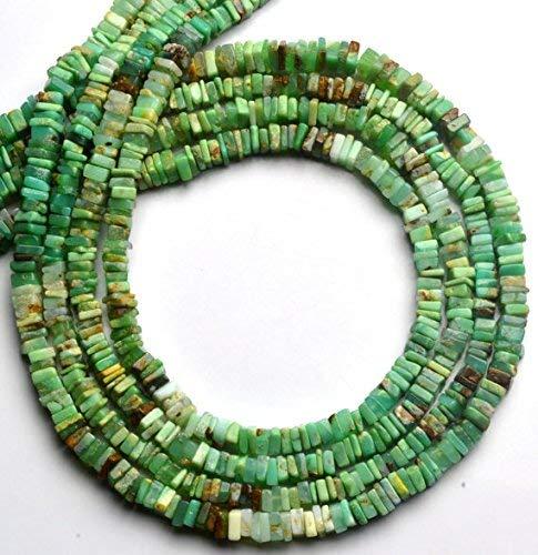 """1 Strand Natural Shaded Green Chrysoprase 5MM Smooth Square Heishi Beads 16.5"""" Long by LadoNarayani"""