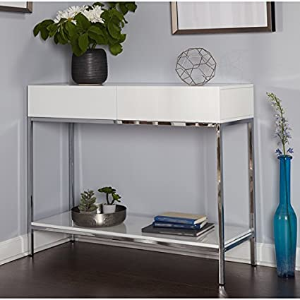 Charmant Amazon.com: Simple Living White Wood And Chrome Metal High Gloss Console  Table: Kitchen U0026 Dining