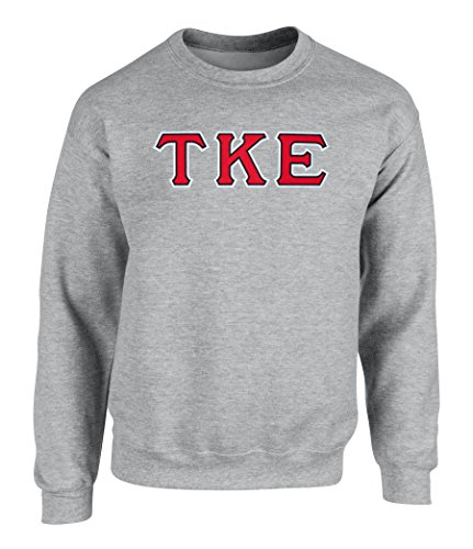 Tau Kappa Epsilon Twill Letter Crewneck Sweatshirt By Fashion Greek Sport Grey RBW (Tau Greek Letter)