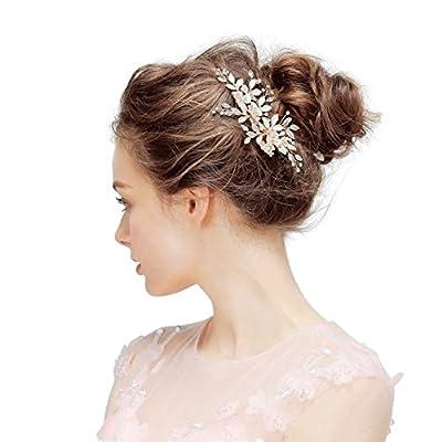 SWEETV Gold Wedding Clip Rhinestone Bridal Comb Barrette - Handmade Flower Clip Head Pieces for Women