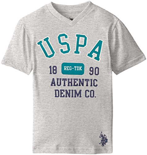 U.S. Polo Assn. Boys' Graphic Embellished V-Neck T-Shirt, Light Heather Gray H5HF75HLV ()