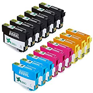 EBBO 15-Pack Replacement for Epson 200XL Ink Cartridges High Yield Compatible with Epson XP-410 XP-310 WF-2540 WF-2530 WF-2520 WF-2010F WF-2010W WF-2510WF XP-400 XP-300 XP-200 Printer