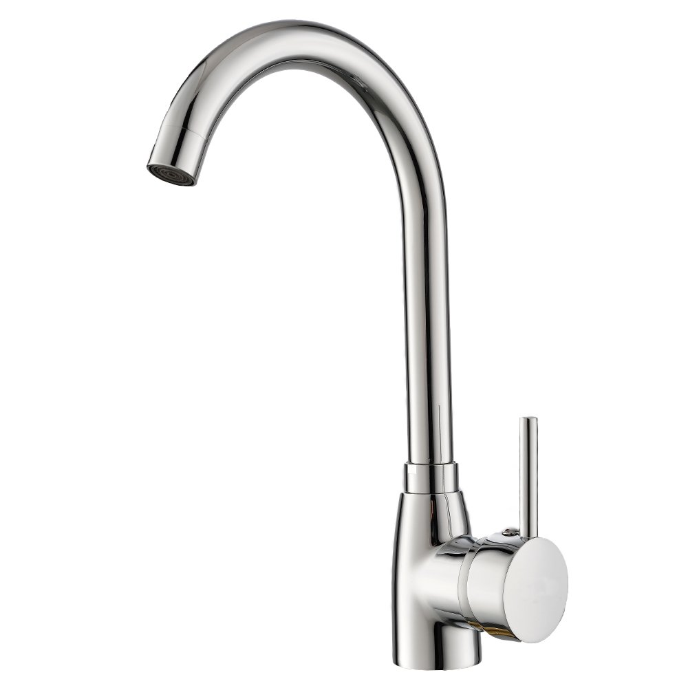 Heselian Well Worth Buying Single Handle One Hole Polished Stainless Steel Sink Mixer Chrome Ktichen Tap, Single Hole Mixer Taps UKTAPS