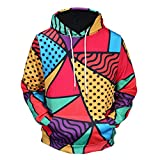 WM & MW Men s Hoodies Fashion 3D Print Color Block Long Sleeve Hooded Sweatshirt Pullover Tops Coat with Pocket (M=(US:S), Multicolor)