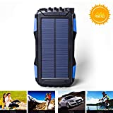 kiizon Solar Charger 25000mAh Outdoor Portable Chargers Solar Power Bank Waterproof/Shockproof Dual USB Port External Backup Battery Powered Pack with Flashlight For iPhone,ipad,Smart Cell Phone,More