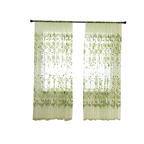 Crinkle Voile Curtain - Yikey Home Decoration Peony Offset Single-Piece Sheer Curtain Treatment Voile Drape Valance 1 Fabric