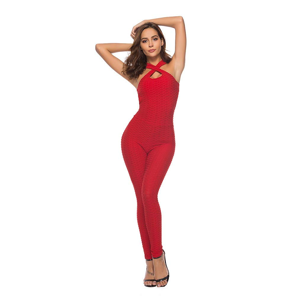 SGMORE ❤ Women's One-Piece Sport Yoga Jumpsuit Running Fitness Workout Gym Tight Capri Pants Red