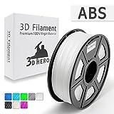 3D HERO - Clear ABS 3D Printer Filament 1.75 mm 1kg Spool(2.2lbs), Dimensional Accuracy +/- 0.02 mm, ABS Transparent