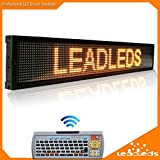 Leadleds 40 x 6.3 Inches Amber Message Display Board, Remote Fast Programmable, Scrolling Display Text for Store Bar Business Indoor
