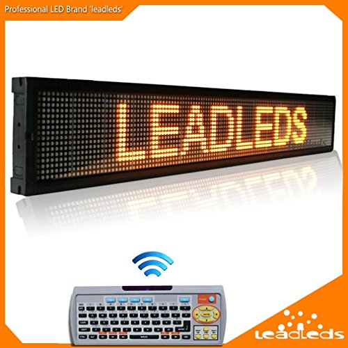 Leadleds 40 x 6.3 Inches Amber Message Display Board, Remote Fast Programmable,cScrolling Display Text for Store Bar Business (Amber Led Window Sign Displays)