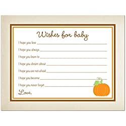 48 Cnt Rustic Style Orange Pumpkin Baby Wishes Card
