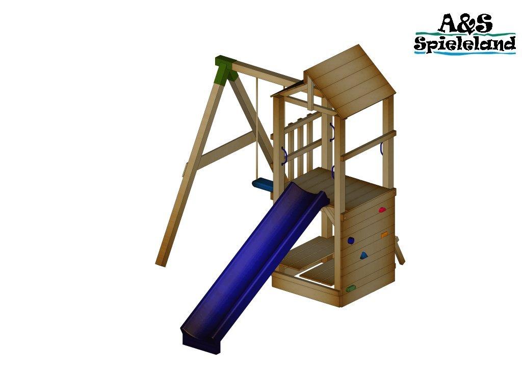 Spielturm CHRIS 2.0 Podesthöhe 120cm mit 2,4m Wellenrutsche Set 1
