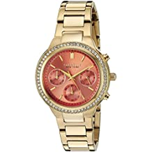Caravelle New York Women's 44L218 Swarovski Crystal  Gold Tone Watch