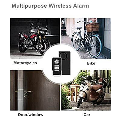 Wsdcam Wireless Vibration Alarm with Remote Control Anti-Theft Alarm Bike/Motorcycle/Vehicle Security Alarm, 110db Loud, Door and Window Alarm: Camera & Photo