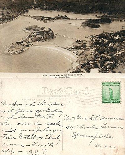 - YORK HARBOR AIRPLANE VIEW MARSHALL HOUSE VINTAGE 1940s REEAL PHOTO POSTCARD RPPC