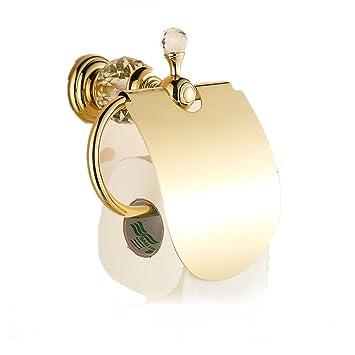 Sanlucky Rollo De Papel Titular Europeo Cristal Cobre Oro Toalla De Papel Titular Baño Baño De Jade Colgante Decoración Inodoro, Oro, ...