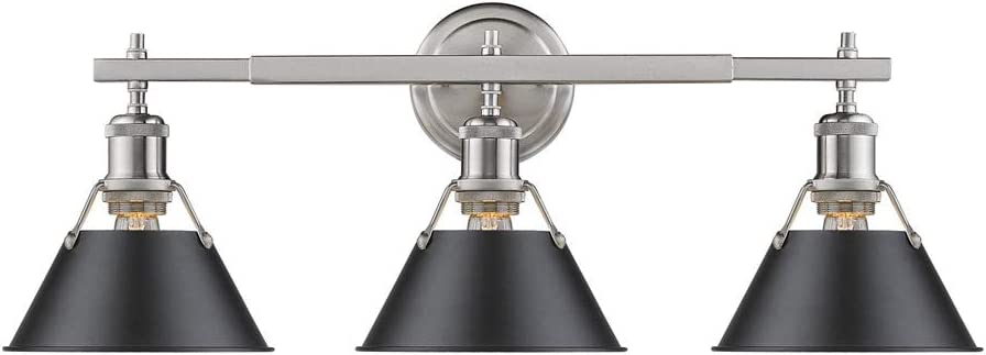 Golden Lighting 3306-BA3 PW-BLK Orwell Bath Fixture, Pewter