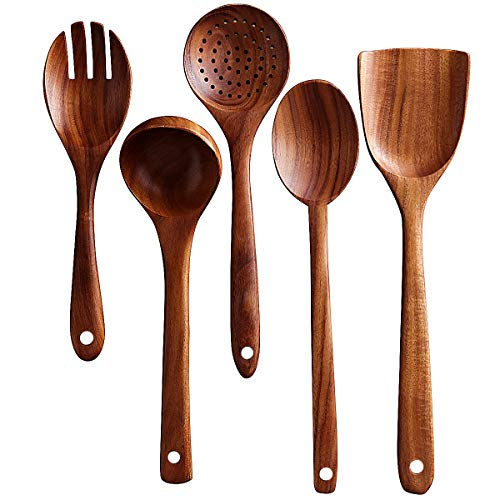 Wooden Kitchen Utensils Set - Wood Spoons for Cooking, Wooden Spatula, Wooden Salad Fork,Cooking Spoons 5 Set (Kitchen Wooden Utensil Set)