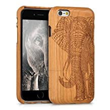 kwmobile Natural wood case with Design elephant pattern for the Apple iPhone 6 / 6S in cherrywood brown