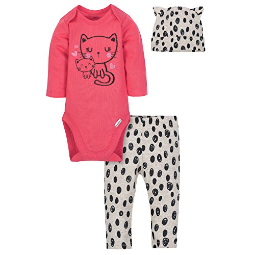 Gerber Baby Girls' 3-Piece Bodysuit, Pant and Cap Set, Kitty, 3-6 Months ()