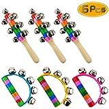 Oruuum 6PCS Bright Color Rainbow Handle Wooden Bells, Christmas Bell for Kids Jingle