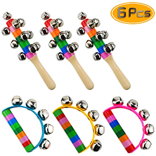 Oruuum 6PCS Bright Color Rainbow Handle Wooden Bells, Christmas Bell for Kids Jingle Stick Shaker Rattle Baby Kids Children Musical Toys.