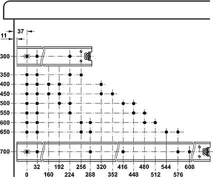 Teleskopschienen Schubladenschiene Kugelf/ührung ACCURIDE 3301-60 Vollauszug 300 mm /Überauszug mit Winkel f/ür aufliegende Bodenmontage Ausz/üge mit Rastung in geschlossener Position 1 Paar