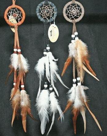 Miniature Dreamcatcher Earthtones, Beads & Feathers, 8-inch ()