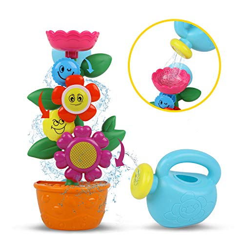 ToyerBee Bath Toys, Flower Waterfall Bathtub Toys with Strong Suction Cups for Toddlers Babies and Kids