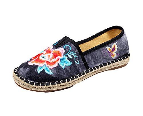 Avacostume Damesschoenen Borduren Gebatikte Casual Wandelende Loafer Schoenen Zwart