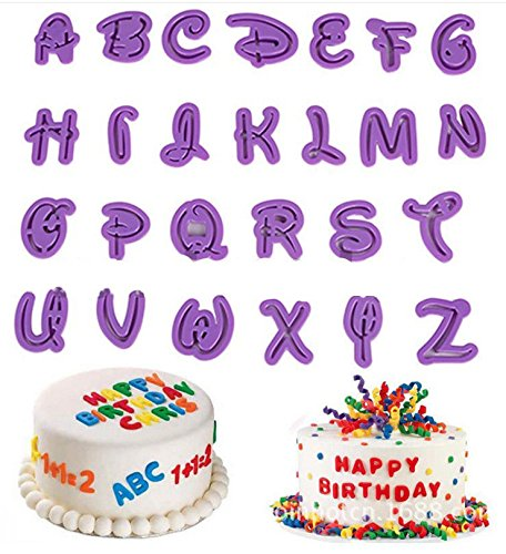 (KOOTIPS Set of 26pcs DIY Letter Number Cake Mould Fondant Sugarcraft Cookie Plunger Cutter Mold Decorating)